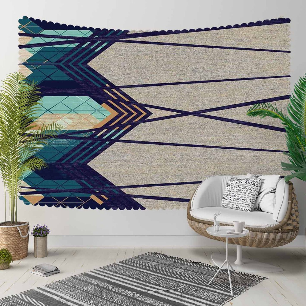 Else Navy Blue Green Geometric Stripes Lines Nordec 3D Print Decorative Hippi Bohemian Wall Hanging Landscape Tapestry Wall Art