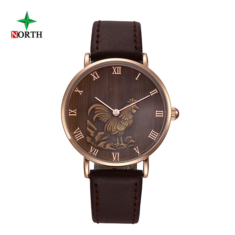 NORTH Chinese Zodiac Rooster Watches Men Leather Strap Male Clock Montre Homme Sport Waterproof Quartz Watch Horloges Mannen робот zodiac ov3400