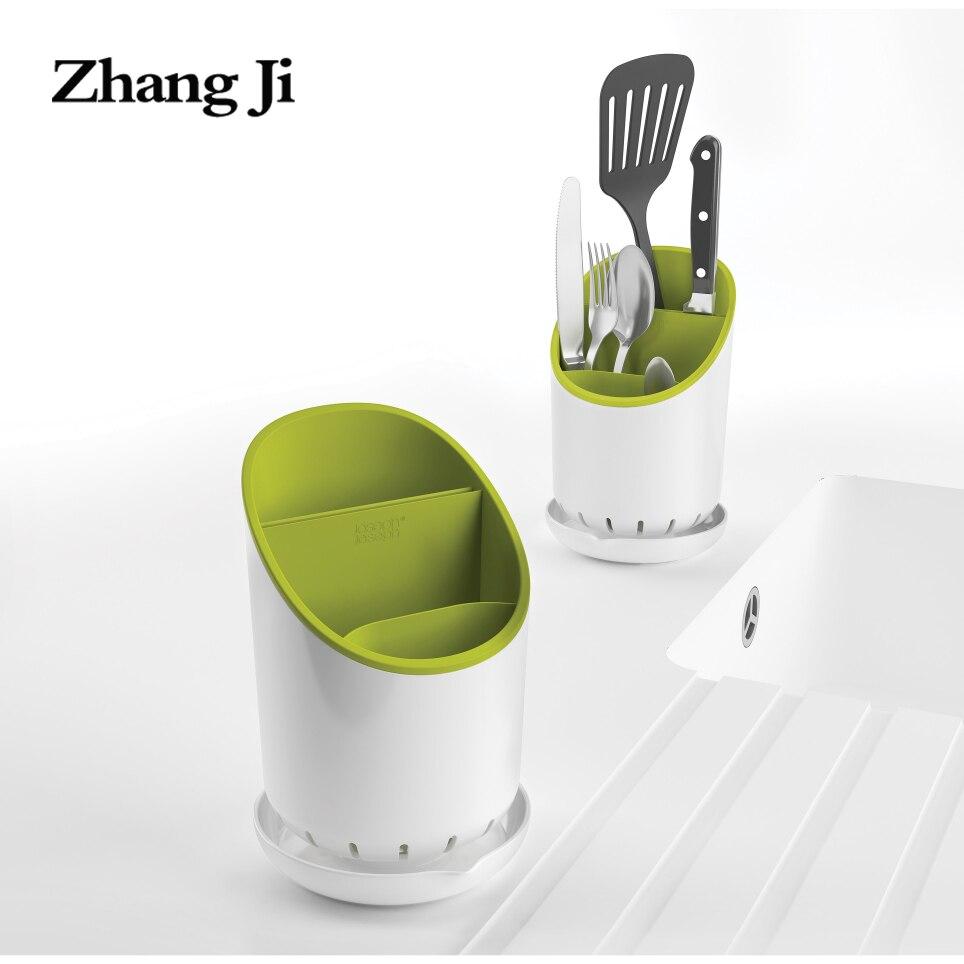 Zhangji cuchillería escurridor organizador con protector cuchillo drenaje ranura cocina baño estante escurridor cocina canasta de almacenamiento