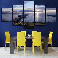 Quadri su tela di Arte Della Parete Complementi Arredo Casa Quadro 5 Pezzo Tramonto Ponte Nave Barca Seascape Dipinti Soggiorno HD Stampe Poster
