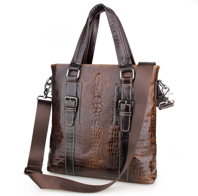 Men 39 s Briefcase Brown Travel Business Genuine Leather Vintage Laptop Ipad Note Book Handbags Messenger Shoulder Crossbody Bags in Top Handle Bags from Luggage amp Bags