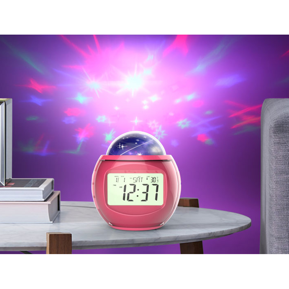 Digital Alarm Clock Multifunctional Clock With Calendar Sound Projecting Lamp (Red)