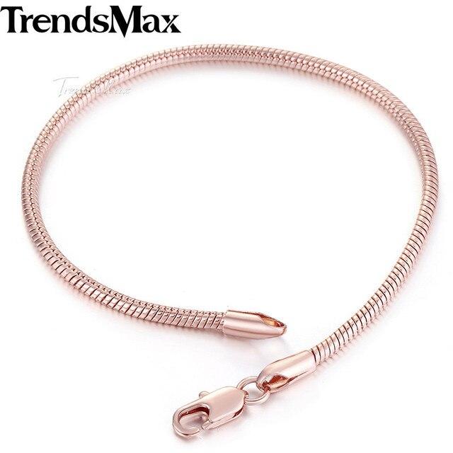 882d94ee64d4 Trendsmax 2 мм 18-20 см Мужские Женские браслеты змеиные кости Роза  полновесный золотистый браслет