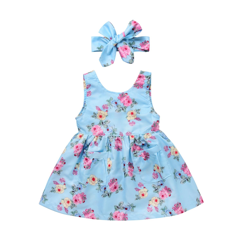 Cute Toddler Baby Girls Dress Sleeveless Flower Cotton Dress