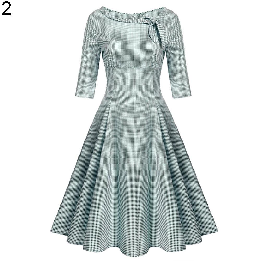 2017 Women\'s 1950s Vintage Half Sleeve Dotted Elegant 50s Retro ...