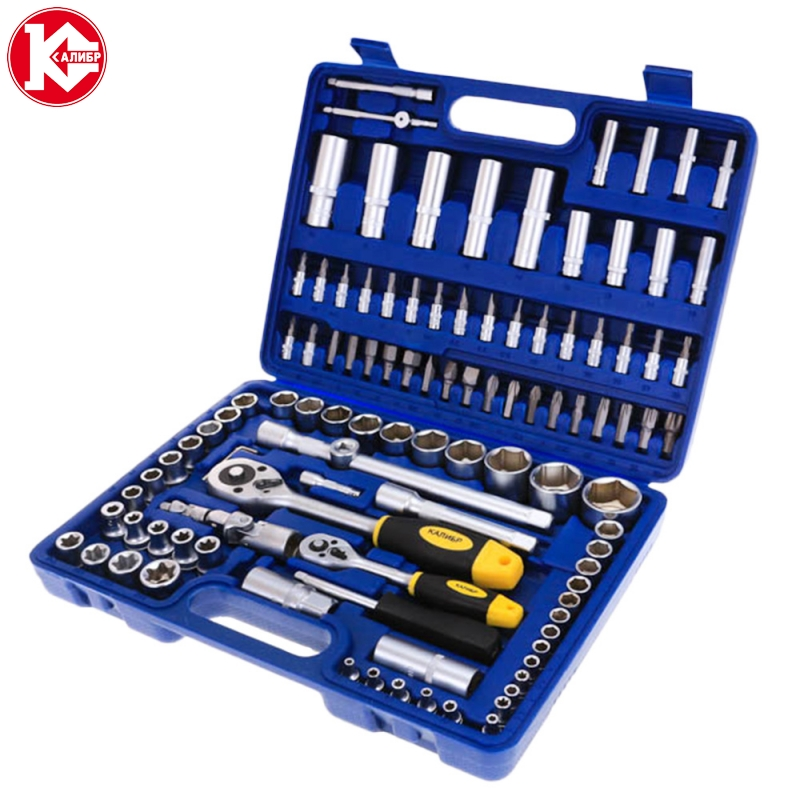 Kalibr NSM-108, 108pc Spanner Socket Set Car Vehicle Motorcycle Repair Ratchet Wrench Set Cr-v hand tools newacalox multitool pliers pocket knife screwdriver set kit adjustable wrench jaw spanner repair survival hand multi tools mini