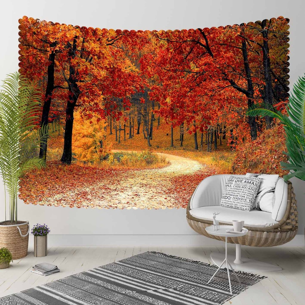 Else Red Brown Autumn Jungle Trees Road Way Leaves 3D Print Decorative Hippi Bohemian Wall Hanging Landscape Tapestry Wall Art