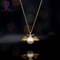 LP Solid 18K Yellow Gold Natural Freshwater Pearl & Diamond & Enamel Angel Wing Pendant For Women's Pearl Jewelry Gift