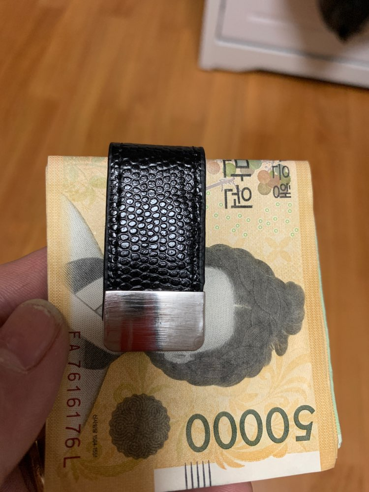 QOONG Money Clip Cash Clamp Holder Portable Leather Slim Money Clip Wallet Purse for Pocket Metal Money Holder Bill Clip ML1-046 photo review