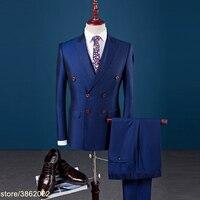 Заказ брендовый костюм Для мужчин платье костюмы Slim Fit двубортный мужской костюм комплект из 3 предметов Для мужчин s костюм смокинг Большие