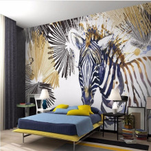 Watercolor zebra cool modern fashion TV background wall professional production mural wholesale wallpaper custom photo