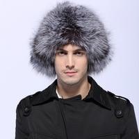 Bomber Hats Men Real Fox Raccoon Fur Bombers Hat Solid Russian Winter Trapper Hats Caps Genuine Natural Fox Fur Bombers