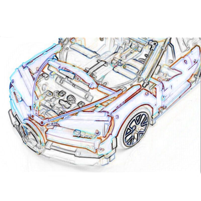 20086 LEGOING Technic série 4031 pièces bleu et rouge Supercar voiture modèle blocs de construction anniversaire cadeau jouets pour enfants 42083 - 4