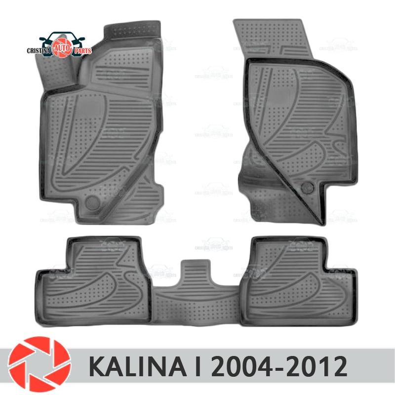 For Lada Kalina I 2004-2012 floor mats rugs non slip polyurethane dirt protection interior car styling accessories чехлы автомобильные skyway для lada kalina 2004 2012 цвет светло серый