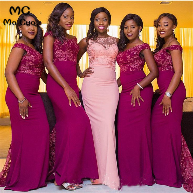 2019 In Stock Arabic African Mermaid   Bridesmaid     Dresses   with Lace Wedding Party   Dress   Custom Made Women   Bridesmaid     Dress   Long