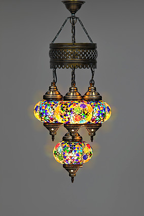 4 BALL TURKISH SULTAN MOSAIC CHANDELIER WITH LARGE GLOBES