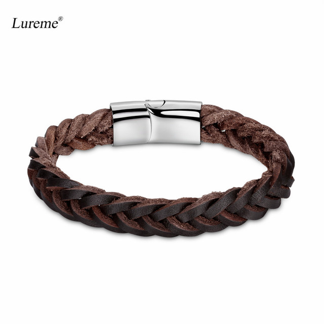 Lureme Unisex Mens Womens Simple Jewelry Fishtail Braided Leather