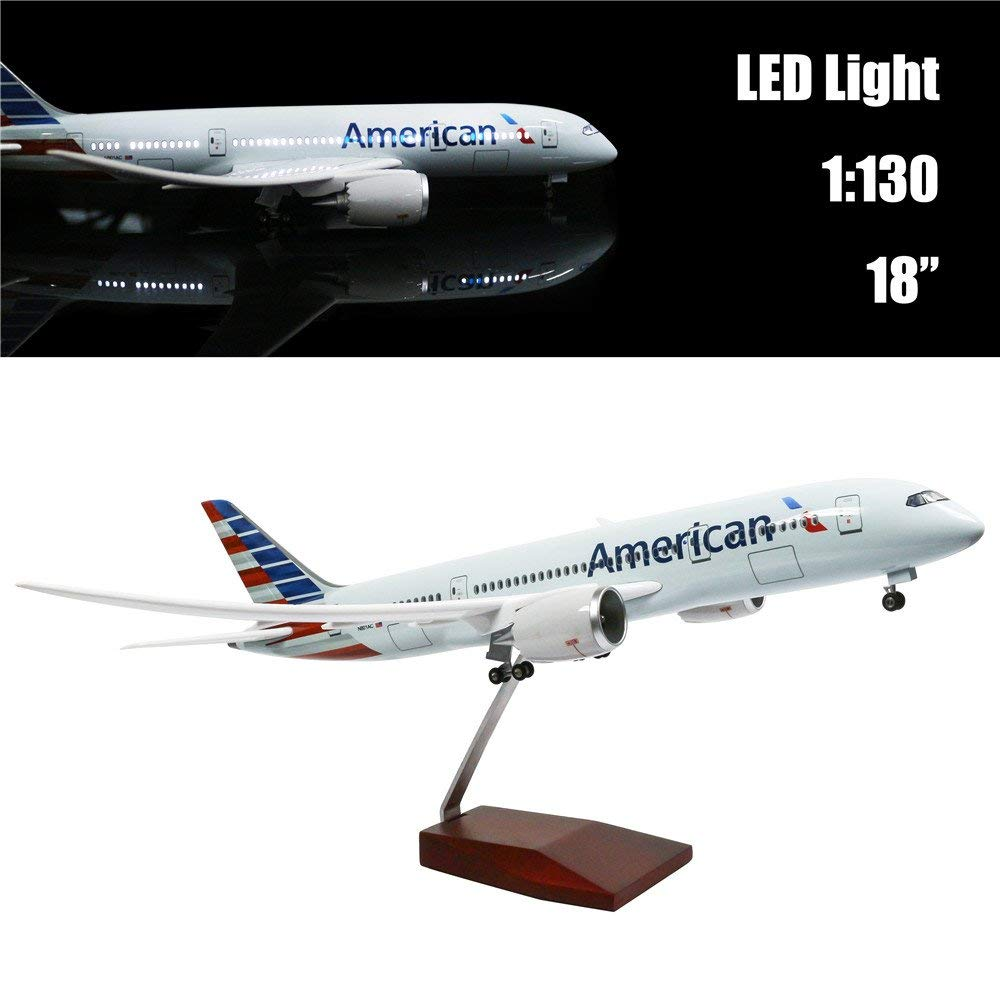 Mini 44 CM(18 inch) 1:130 Airplane Model American Boeing 787 with LED Light(Touch or Sound Control) for Decoration or Gift cybernetics or control