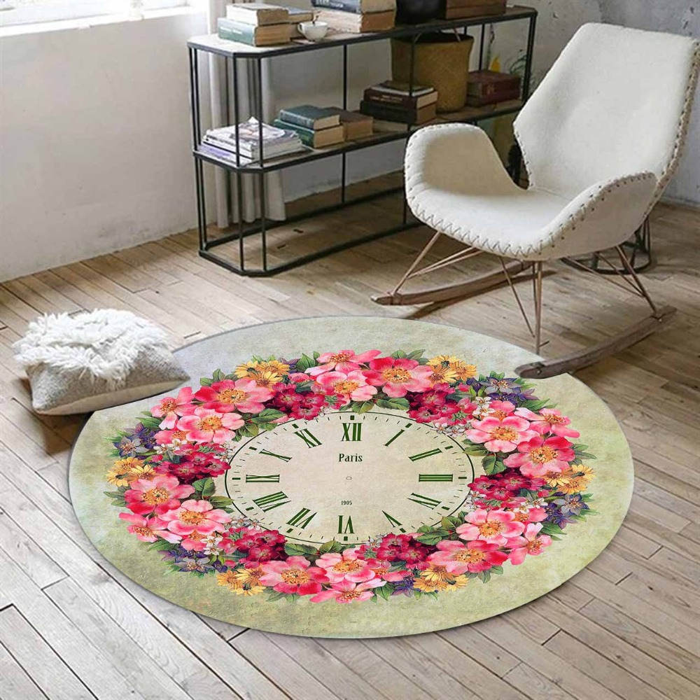 Else Pink Yellow Roses Flowers Green Leaves Time Clock 3d Print Anti Slip Back Round Carpets Area Rug For Living Rooms Bathroom