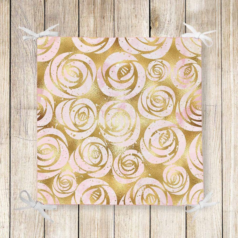 Else Golden White Roses Flower Nordec 3d Print Chair Pad Seat Cushion Soft Memory Foam Full Lenght Ties Non Slip Washable Square