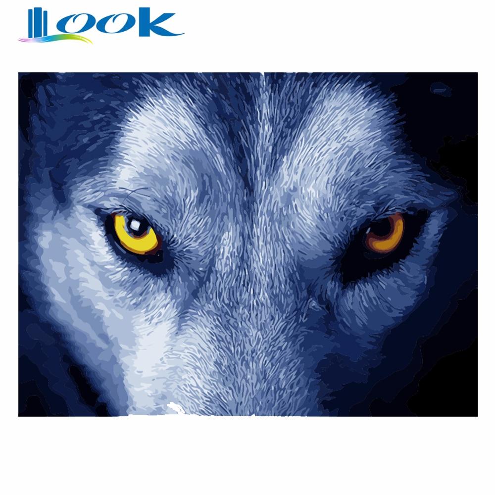 Diy digital painting no border A wolfs gaze digital art Room home decor Digital color painting