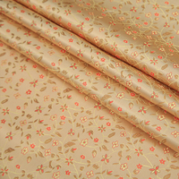 High Quality Nylon Chemical Fiber Brocade Jacquard Apricot Colour Flower Fabric Used For Dress Women Clothing