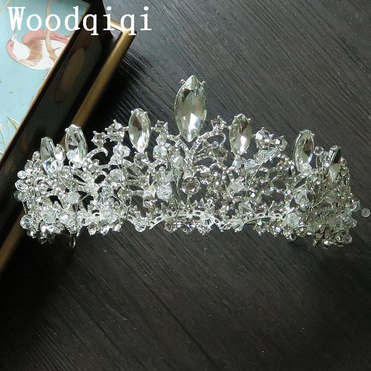 Woodqiqi tiara crown hair jewelry bridal hair accessories tiara de noiva headbands for bride wedding accessories coroa de noiva