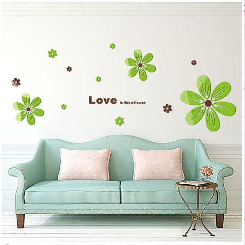 Acrylic 3D three dimensional wall stickers to warm the bedroom living room sofa bed room restaurant background wall decorations