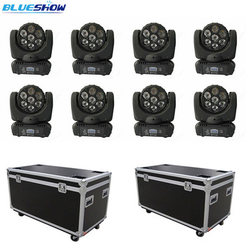 No tax custom, 8pcs+2 flightcase Mini Sharpy Moving head beam 7x10w RGBW 4in1 LED Moving head beam light dmx for dj stage фото