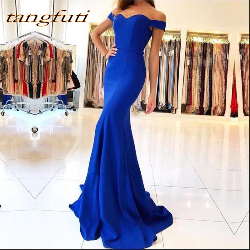 Royal Blue Satin Mermaid Long Prom Dresses Elegant Off The Shoulder Bow Sash Simple Sweep Train