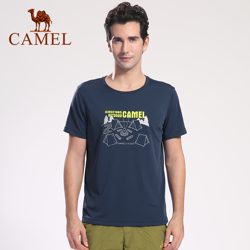 CAMEL Men Outdoor Quick-Dry T-shirt Summer Soft Breathable Casual Sports Shirt O-neck Short-Sleeve Tops