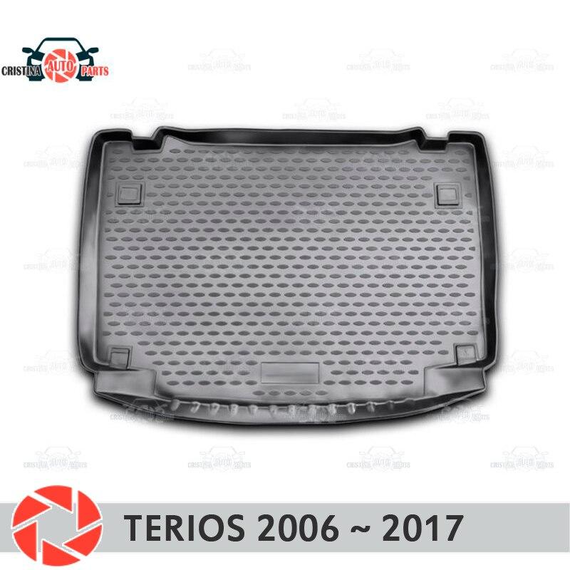 Trunk mat for Daihatsu Terios 2006~2017 trunk floor rugs non slip polyurethane dirt protection interior trunk car styling new ac compressor 88310b1070 88320 97401 88310 b1070 88320 b1020 for toyota passo daihatsu terios boon sirion