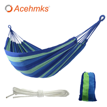 Portable Camping Hammock Swing  Outdoor Indoor Ramak Garden Hanging Hamac For Camping Canvas Hammock With 2 Tree Ropes Red
