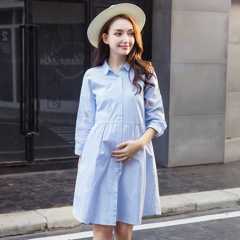 Nursing Dress Girl Casual Breast Feeding Dress Summer Blue Dress For Pregnant Cotton Loose Maternity Dress Embroidery
