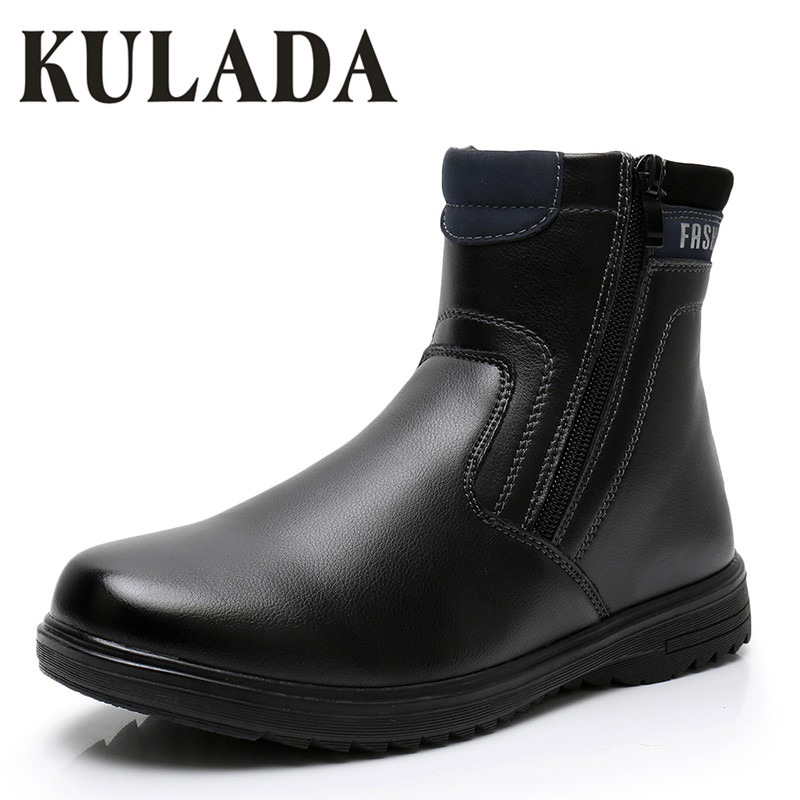 KULADA Hot Boys Kids Ankle Boots Child Zip Children Shoes Leather Autumn&Winter Black Large Size 27 To 41 Waterproof Warm Boots