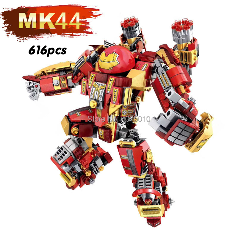 616pcs MK44 compatible legoeinglys Marvel Avengers Iron Man MK Armor Series building blocks brick toys for children gift 2017 hot compatible legoinglys marvel super hero avengers iron man mk series building blocks deformation armor brick toys gift