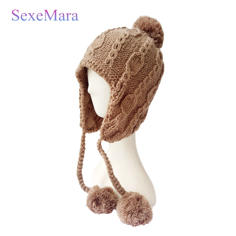 Thick Autumn Winter Wool Knit Slouchy Hat Women Cap Ears Beanie Hats Cashmere Gorros Caps Fox Fur Pompom Female Skullies Beanies andybeatty fur pompom skullies caps ladies knit winter hats for women beanies autumn winter beanie fur hat knitted wool cap