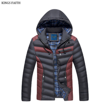 King's Faith Brand 2017 Winter New Young Men Thick Warm Parka And Jackets Fashion Casual Hood Coat Fit Snow Cold