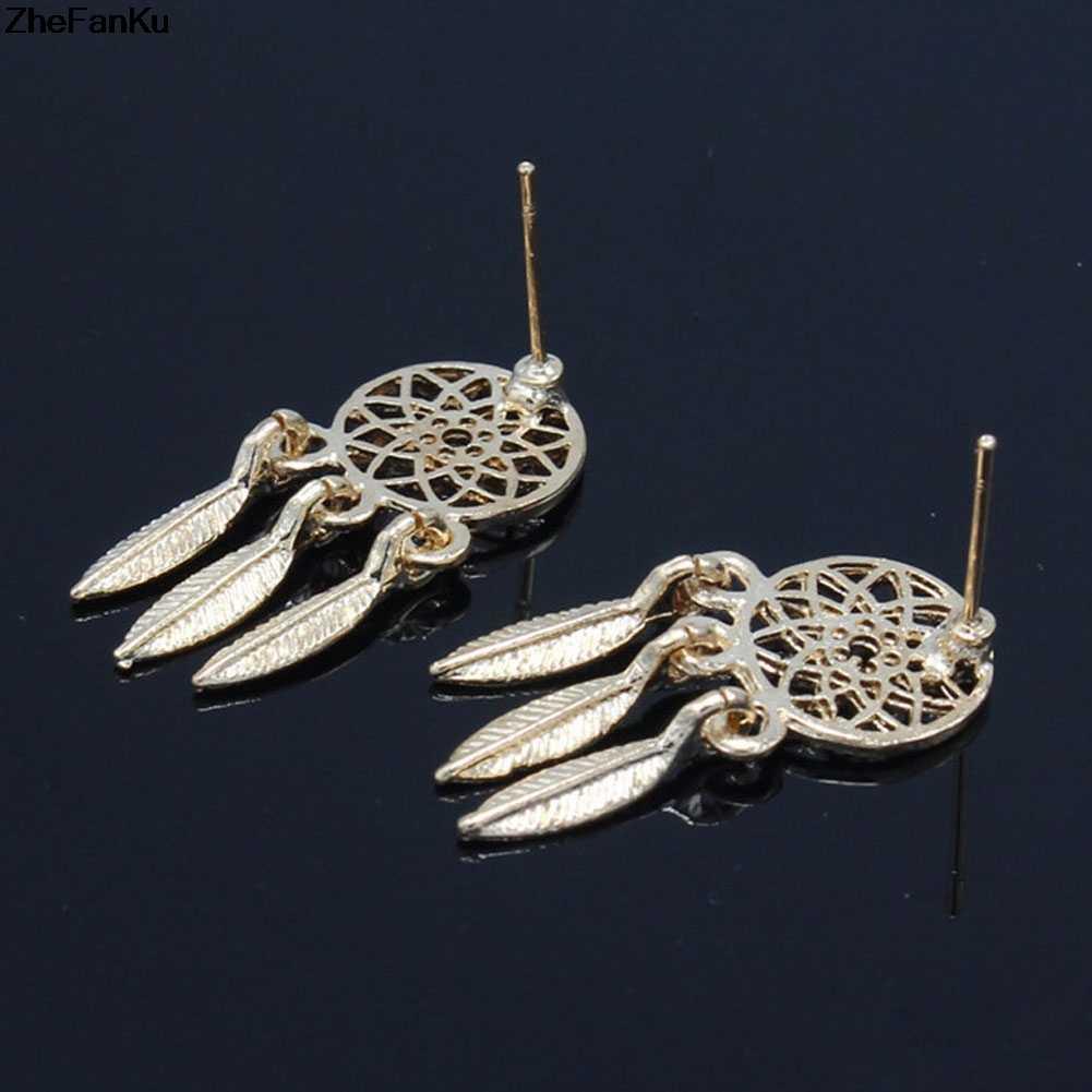 Новая мода Серебряный цвет Богемия национальности индийский Перо Ловец снов Висячие серьги для Для женщин ювелирные изделия