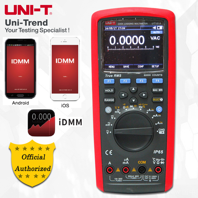 UNI-T UT181A True RMS Datalogging Multimeter; Digital Multimeter, Low-Pass Filtering/nS Conductance/Dual Temperature Measurement