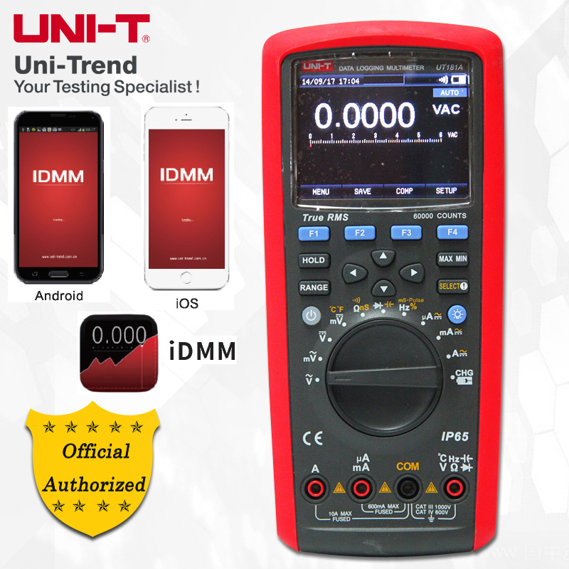 UNI-T UT181A True RMS Datenaufzeichnung Gehören Multimeter; Digital-Multimeter, low-Pass Filterung/nS Leitwert/Dual Temperatur Messung