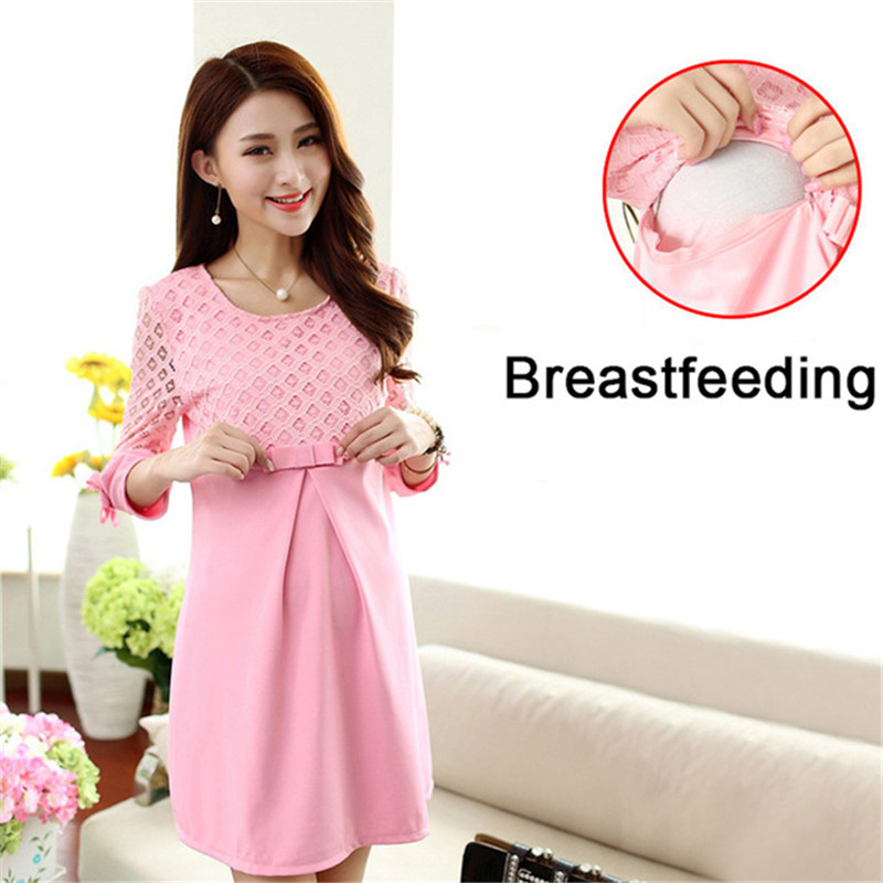 Pregnancy Breastfeeding Dress Pink Maternity Dresses Maternity Blouse Lace Pregnant Women Dresses Autumn Winter Nursing Dress