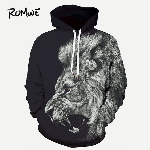 538625e98a Online Shop ROMWE Men 3D Lion Print Hooded Sweatshirt Mankind Autumn Rock  Long Sleeve Black Clothing Male Animal Drawstring Pullovers Hoodie |  Aliexpress ...