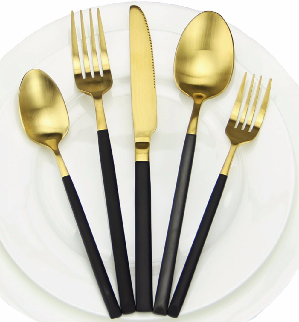 High Grade Cutlery Rose Gold Matte Black Gold Stainless