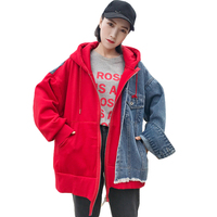 5d645e11cf 2018 New Spring Autumn Irregular Basic Coat Loose Casual Coat Women Hooded  Denim Jacket Lady Jeans