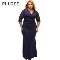 PLUSEE 2017 Women Plus Size Long Dress V Neck Patchwork Lace Fashion Dresses Royal Blue Vestido