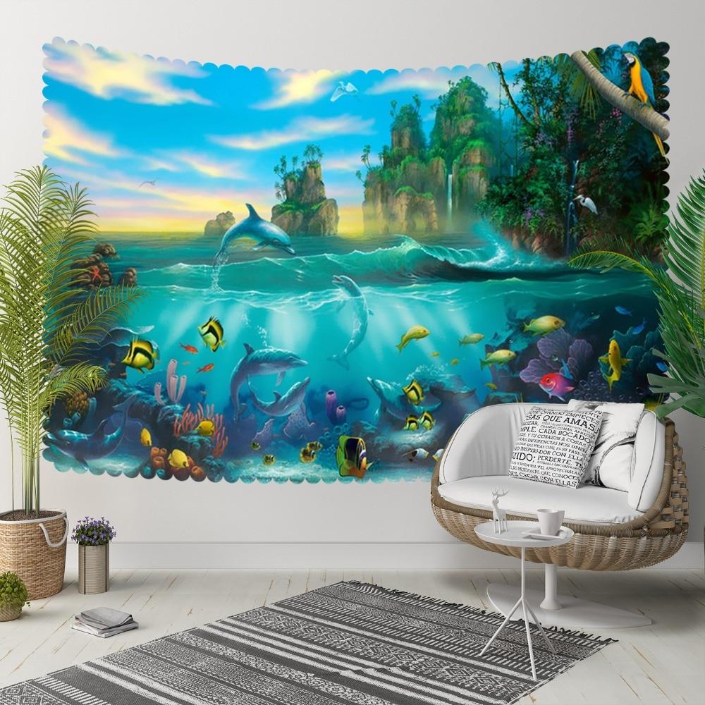 Ev ve Bahçe'ten Dekoratif Halılar'de Başka bir Tropikal Mavi Deniz Akvaryum Balıkları Yeşil Ağaçlar 3D Baskı Dekoratif Hippi Bohemian Duvar Asılı Peyzaj Goblen Duvar Sanatı title=
