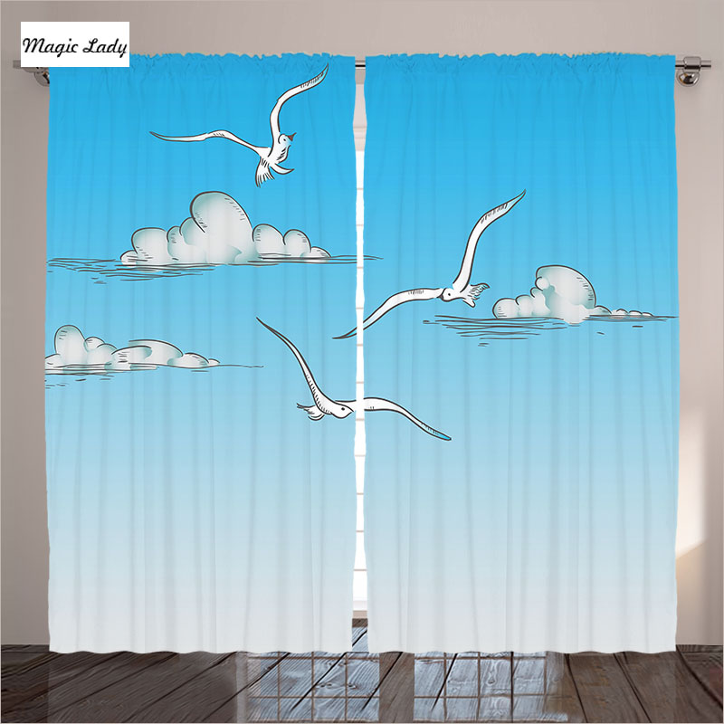 Print Curtains Living Room Blue Bedroom Seagulls Flying Ombre Sky Clouds Minimalistic Drawing