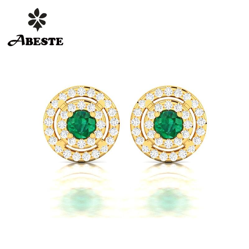 купить ANI 18K Yellow Gold (AU750) Women Diopside Stud Earrings 2 Halo Natural Diamond Earrings Engagement boucle d oreille Jewelry недорого