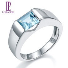 LP  2019 NEW Solid Natural Sky Blue Topaz Princess Cut 1.34 Carats 925 Sterling Silver Ring Gemstone Fine Jewelry Women's Gift leige jewelry real natural white topaz ring wedding ring pear cut gemstone november birthstone solid 925 sterling silver ring